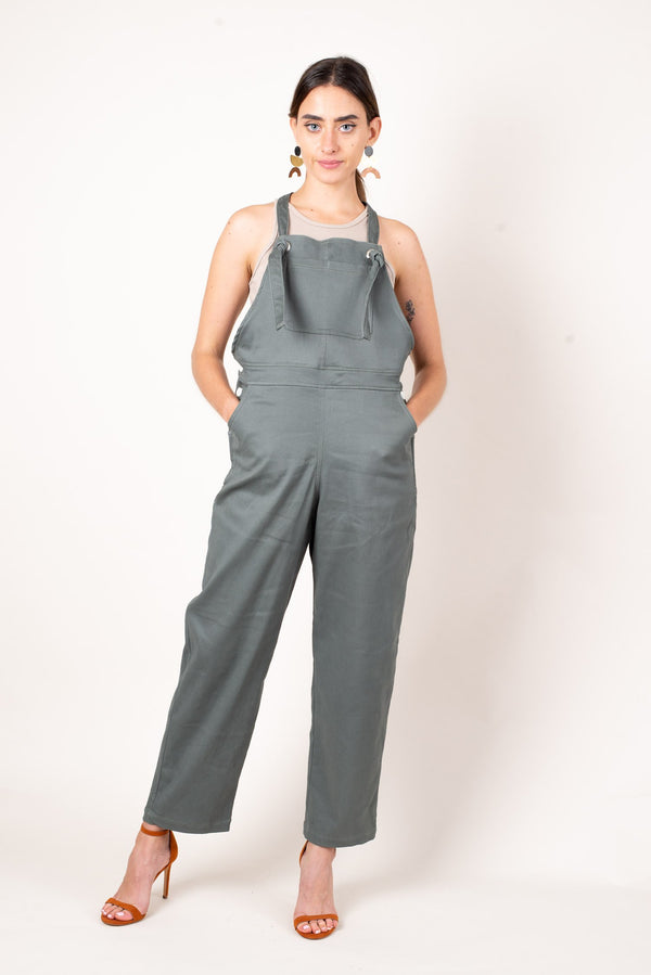 A front view of our comfortable sustainable fashion overalls with deep pockets and adjustable straps.