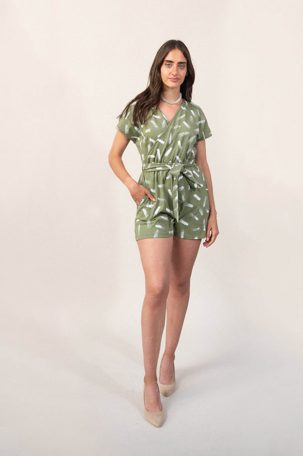 This hand-painted romper is made from reclaimed jersey as part of our unique zero waste process. Seen here in our fun dash design.