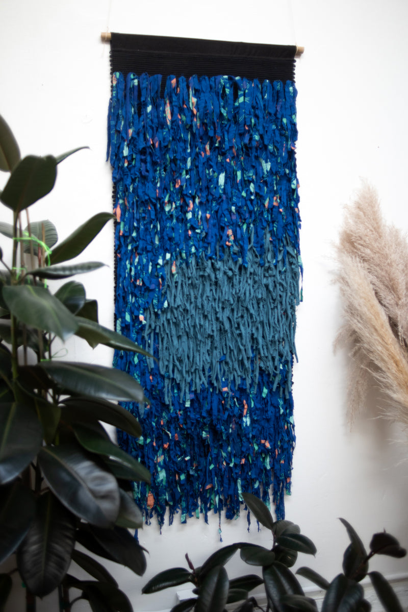 royal blue and teal full moon macramé