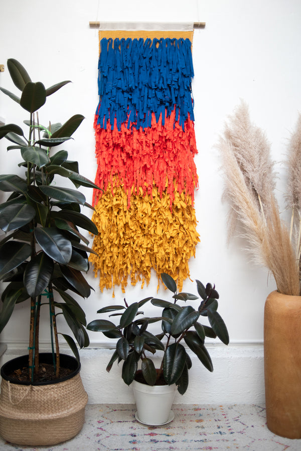 royal blue, tomato, and mustard rainbow macramé