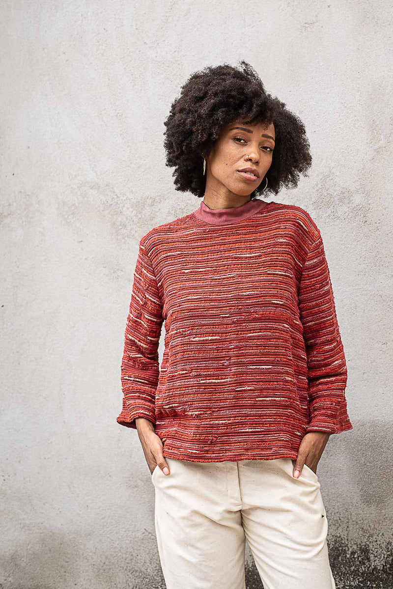 Our ethical fashion Seyha sweater in brick.