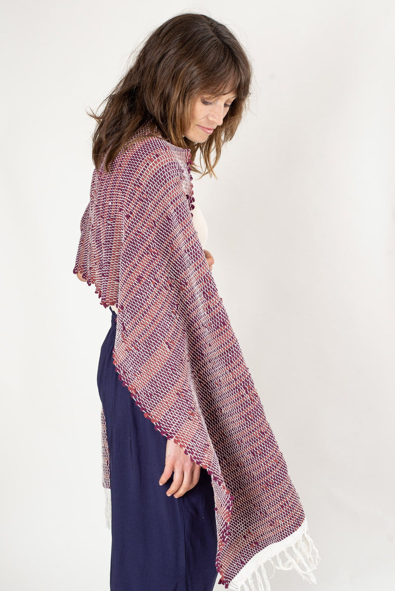 A side view of our ethically made Srey scarf shows how it drapes beautifully over the shoulders.