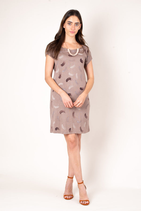 A front view of the taupe purple t-shirt dress with hand painted designs. This sustainable fashion dress is made from soft reclaimed jersey.