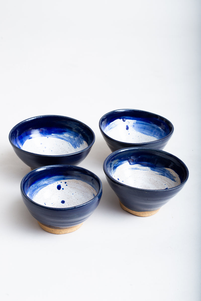 These handmade ceramic bowls can serve soups or cereals.