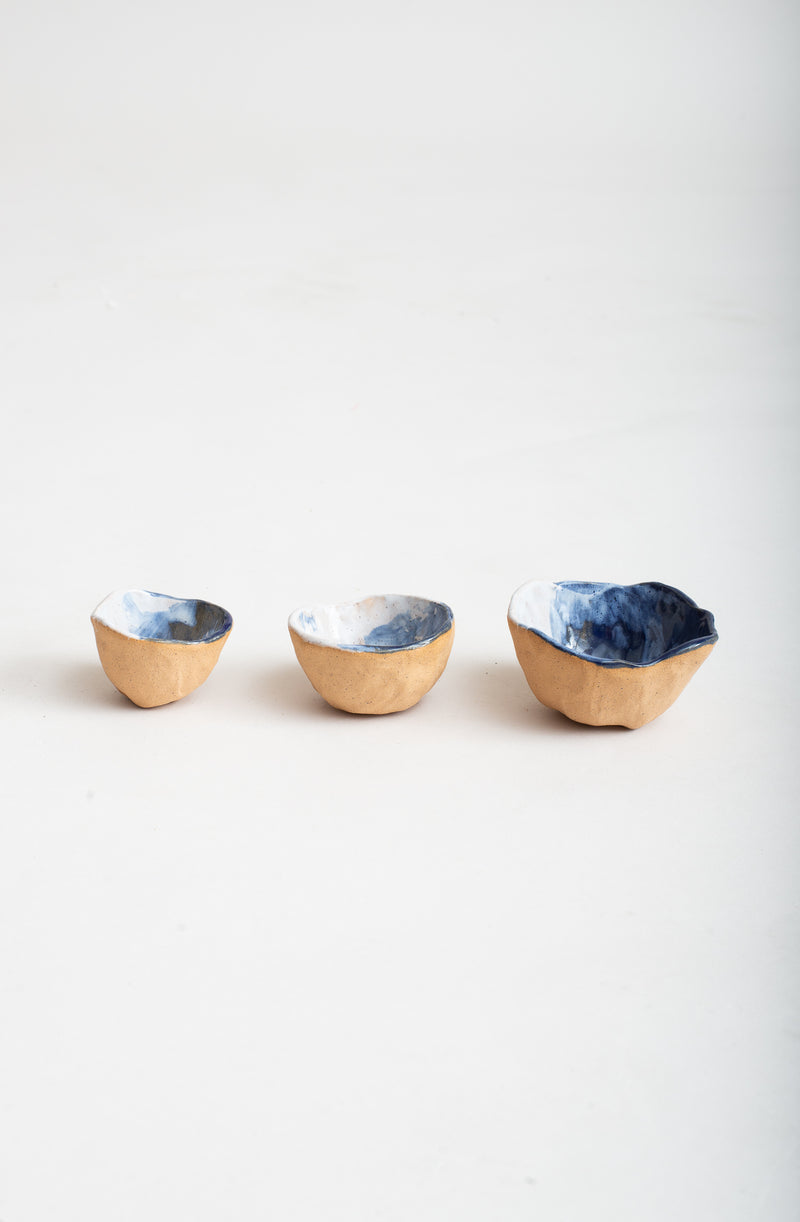 Handmade ceramic pinch bowls for spices, sauces and salts.