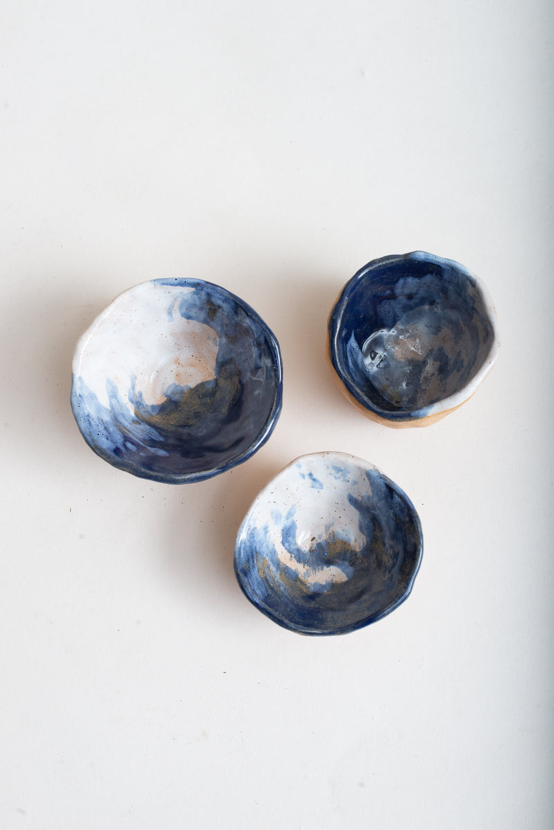 A top view of the handmade ceramic pinch bowls. They can also be used as jewelry holders.