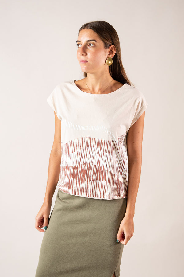 The Keang top is made from reclaimed cotton jersey in our zero waste process.