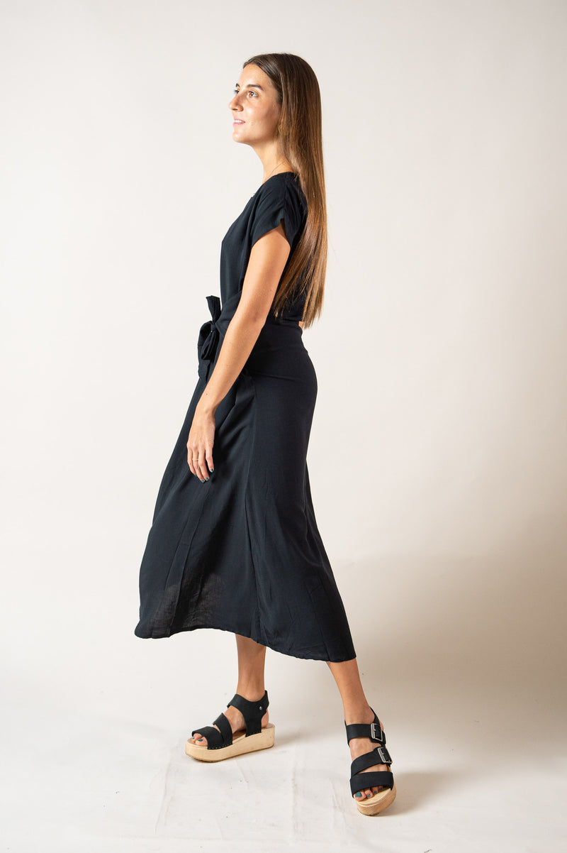 Our fair fashion Sofia dress is made from easy, breezy reclaimed rayon.