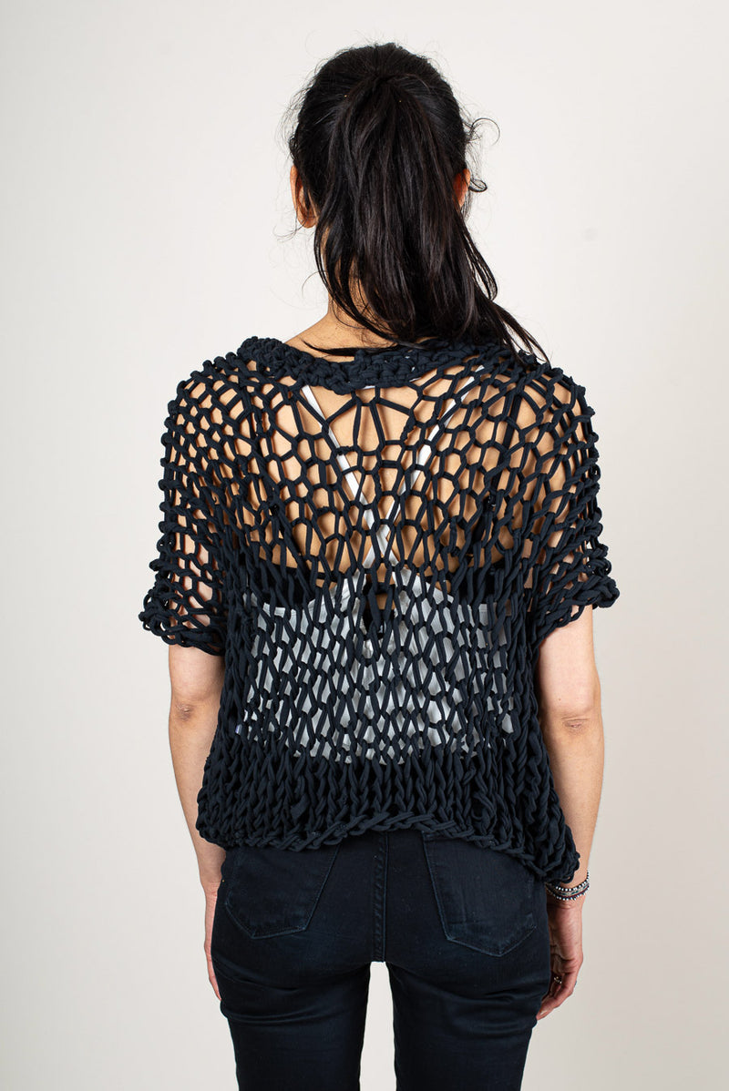 A back view of the ethically made, hand-knit Maleng top.