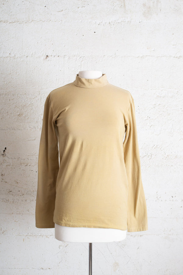 mock neck top - olive turmeric dyed - open closet - sample, rarely worn