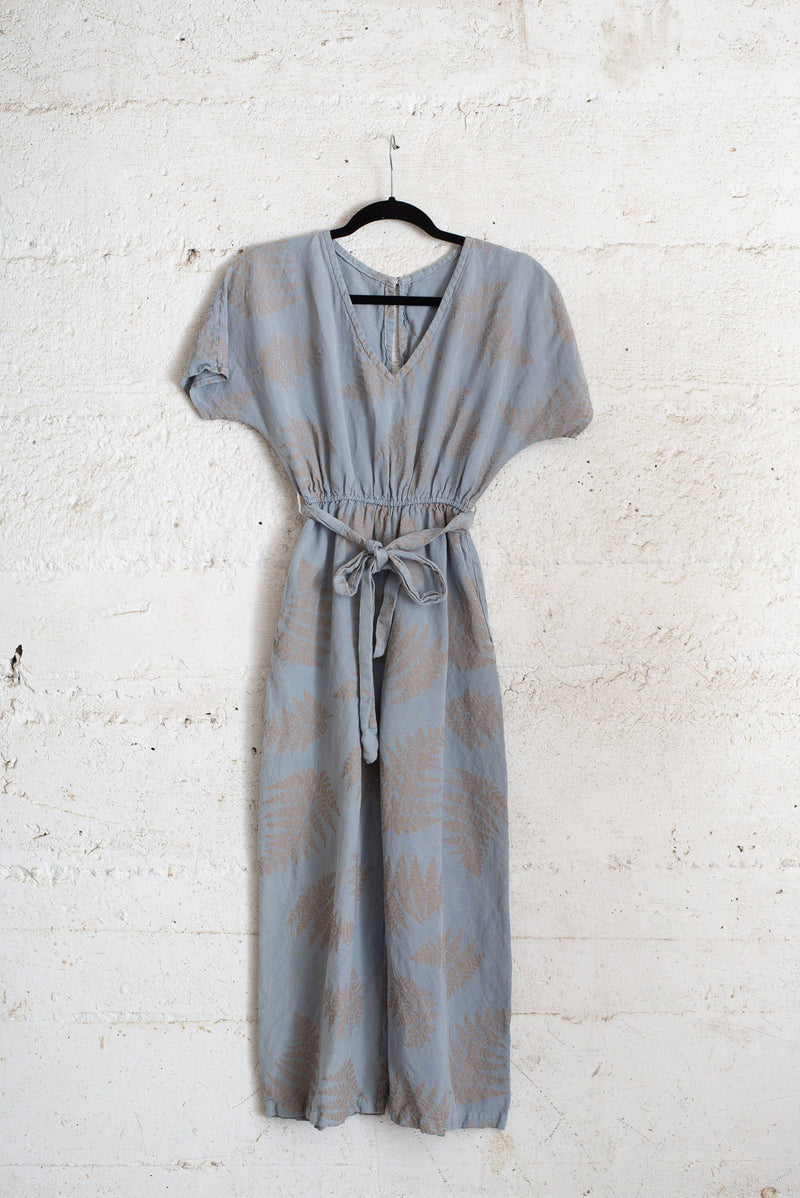 rachana jumpsuit - slate blue with fern print - open closet - size xs - reimagined