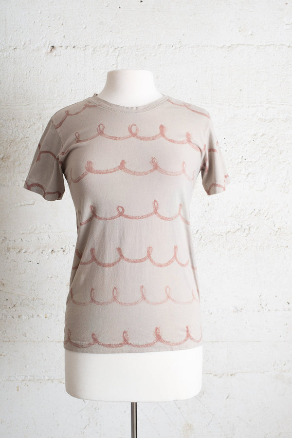 classic t-shirt with hand-painted whimsy design - grey - open closet - small - sample, rarely worn