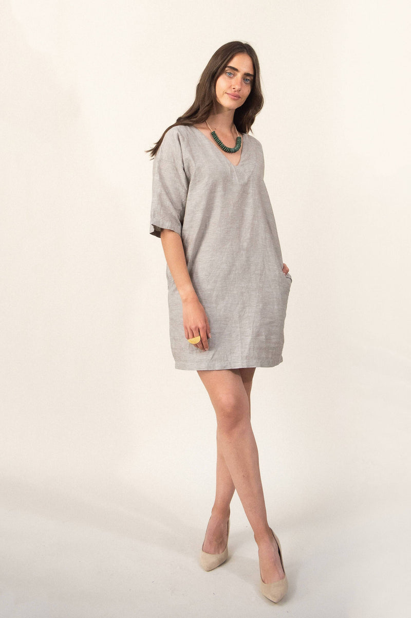 The Veha dress is made from reclaimed linen and cotton in our unique zero waste process. Seen here in birch linen.