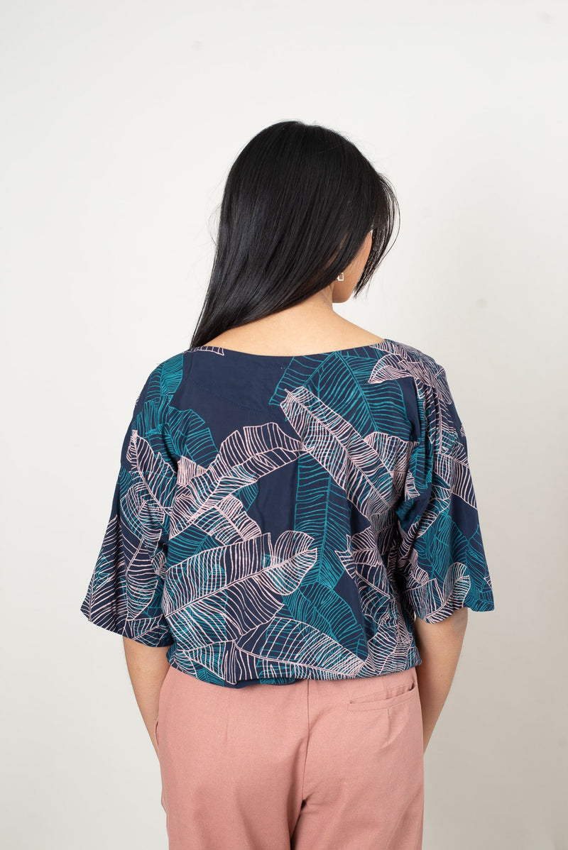 veha top with banana palm print - open closet - small - rarely worn