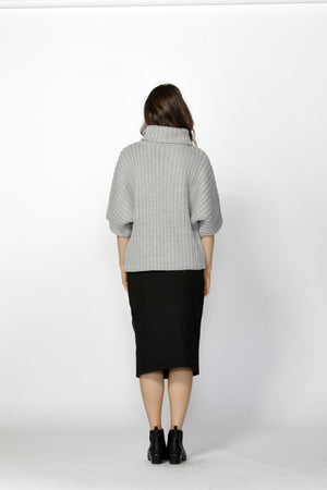 Fate + Becker - Bette High Neck Knit Top (Light Grey)