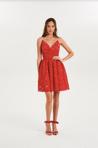 Cooper Street - Dancer F/F Lace Dress (Lava Red)