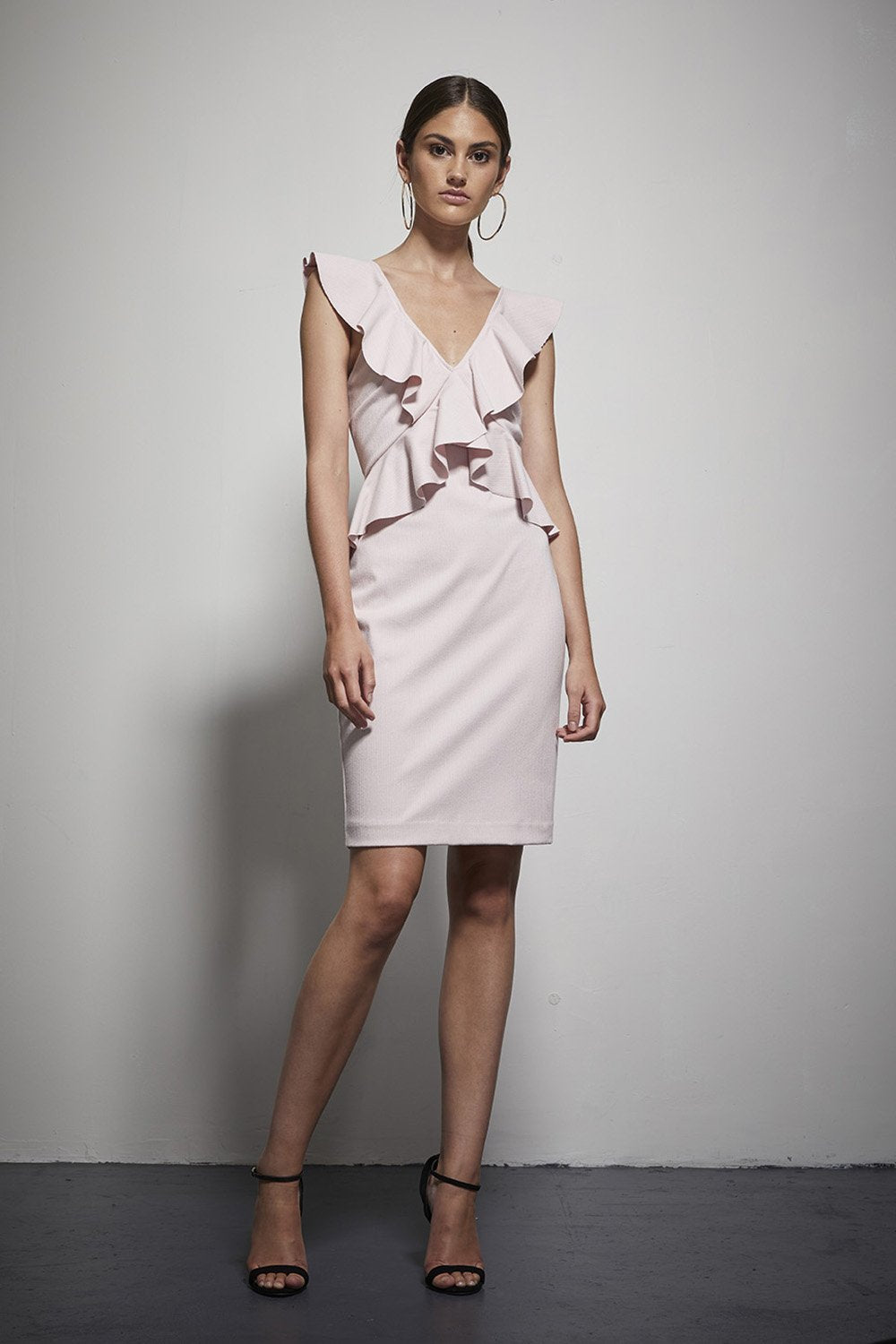 Shilla - Exotic Textured Ruffle Dress (Pink)