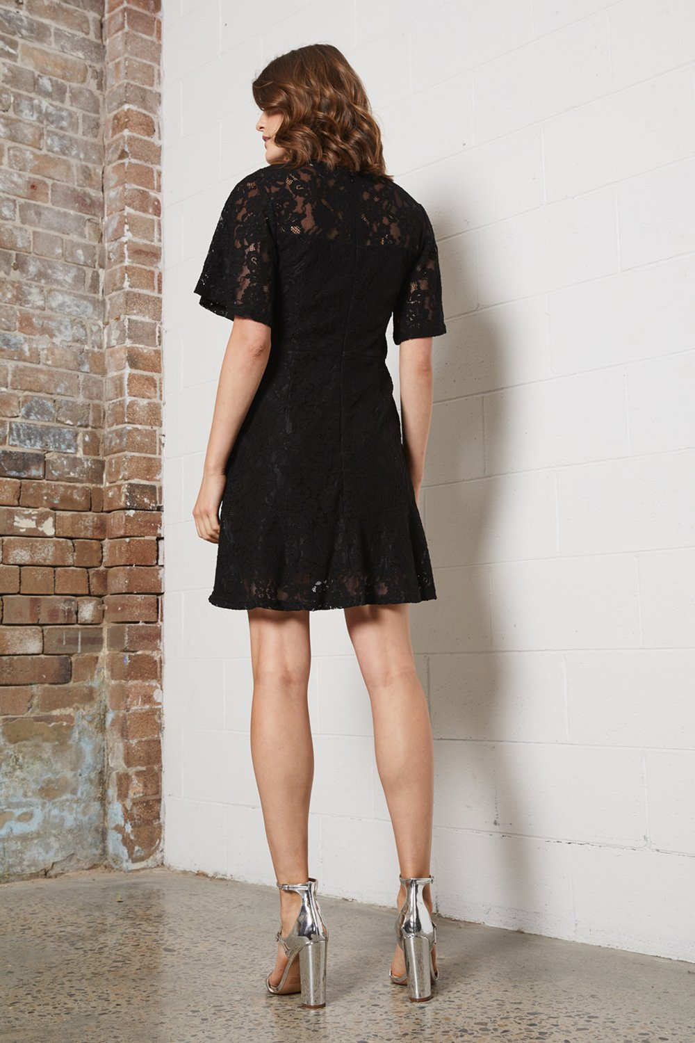 Shilla - Delicate Lace Mini Dress (Black)