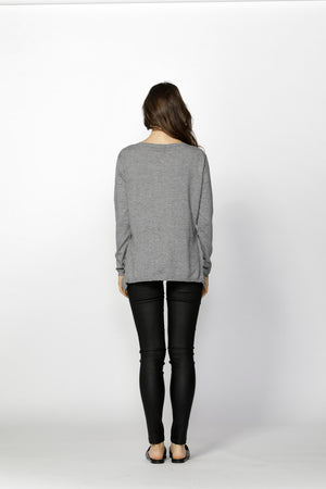 Fate + Becker - Laura Side Frill Knit Top (Steel Grey)