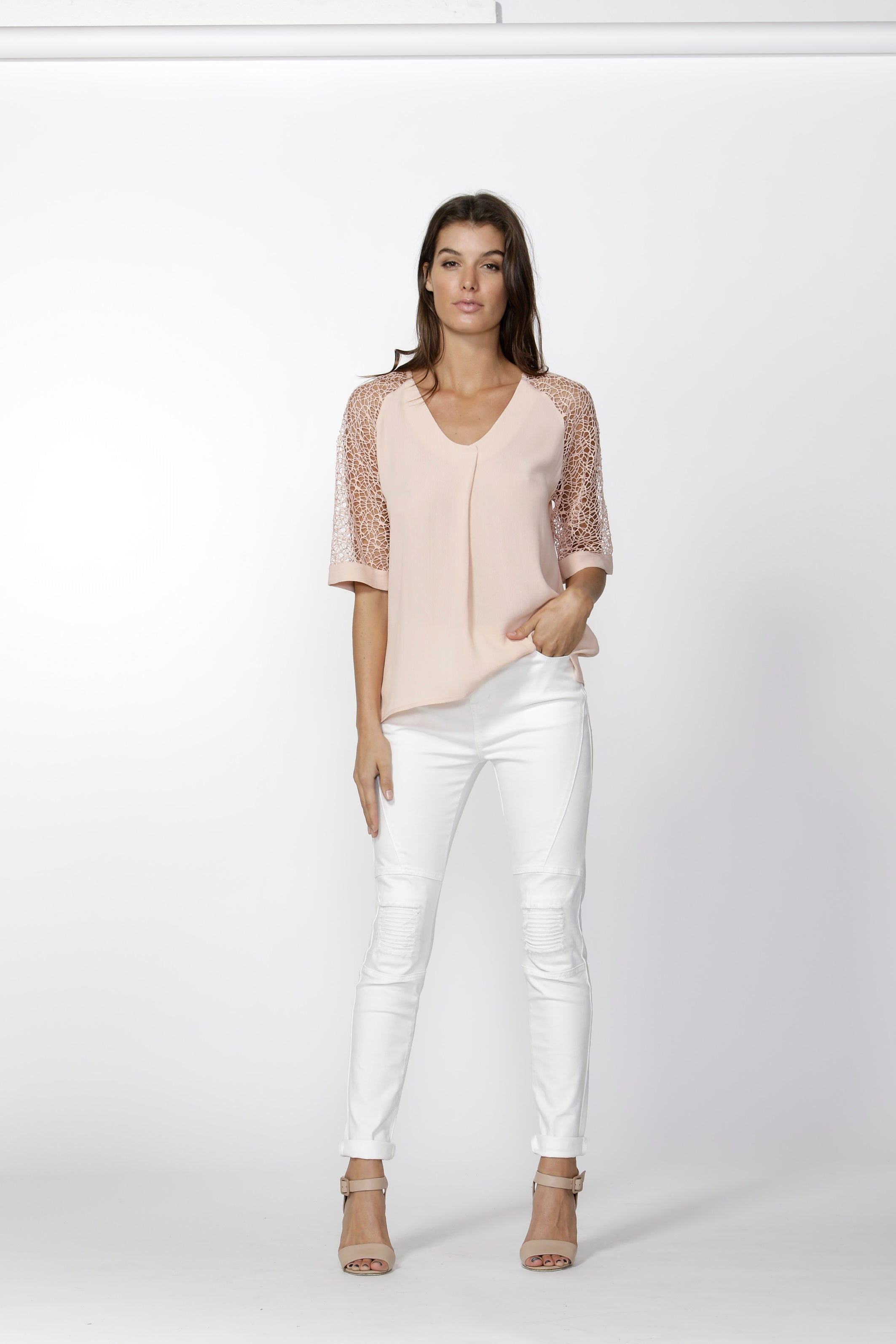 Fate and Becker- Mayah Lace Sleeve Top (Blush)