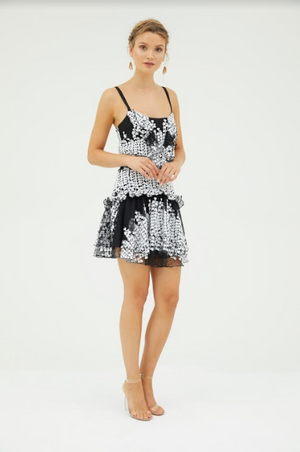 Cooper Street - Mimosa Embroidered Mini Dress (Black/White)