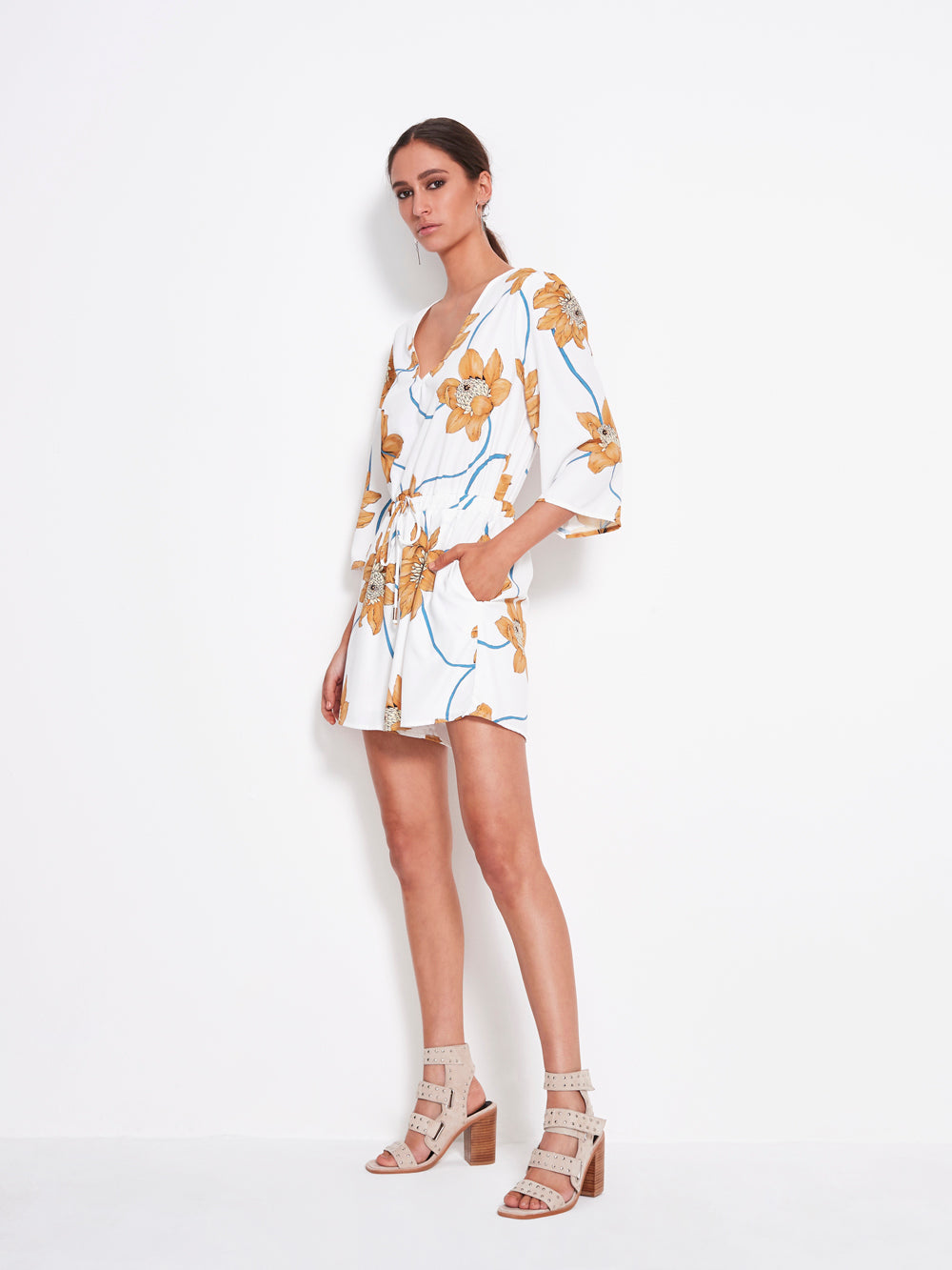Shilla - Play Floral Romper (White Floral)