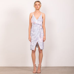 Wish-Wallflower Wrap Dress (Dove Grey)