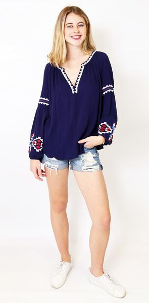 Living Doll - Woodstock Blouse - Navy