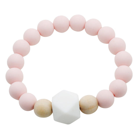 Adult Silicone Teething Bracelet - Gemstone in Ballerina Pink - Glitter & Spice