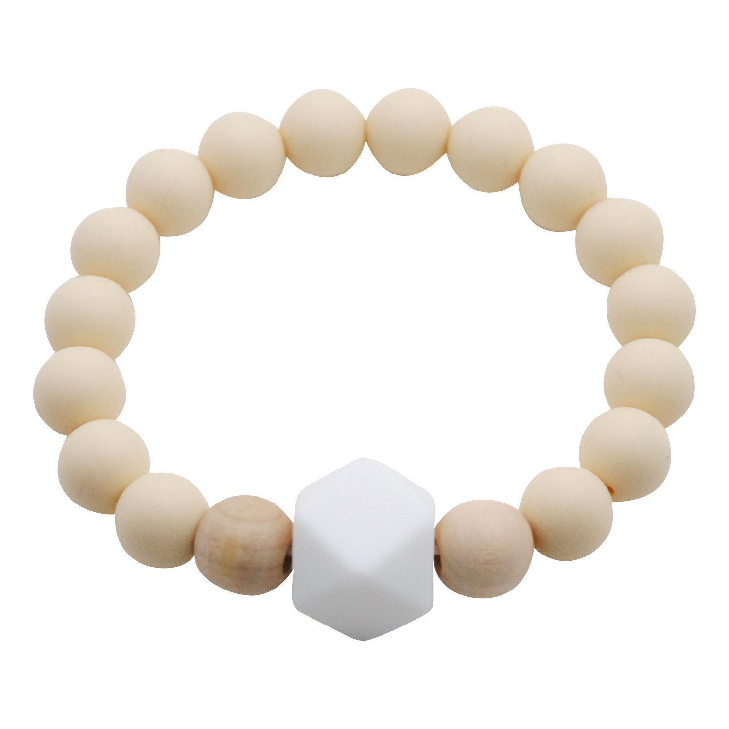 Adult Silicone Teething Bracelet - Gemstone in Barely Beige - Glitter & Spice