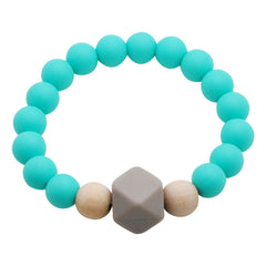Adult Silicone Teething Bracelet - Gemstone in Caribbean Blue - Glitter & Spice