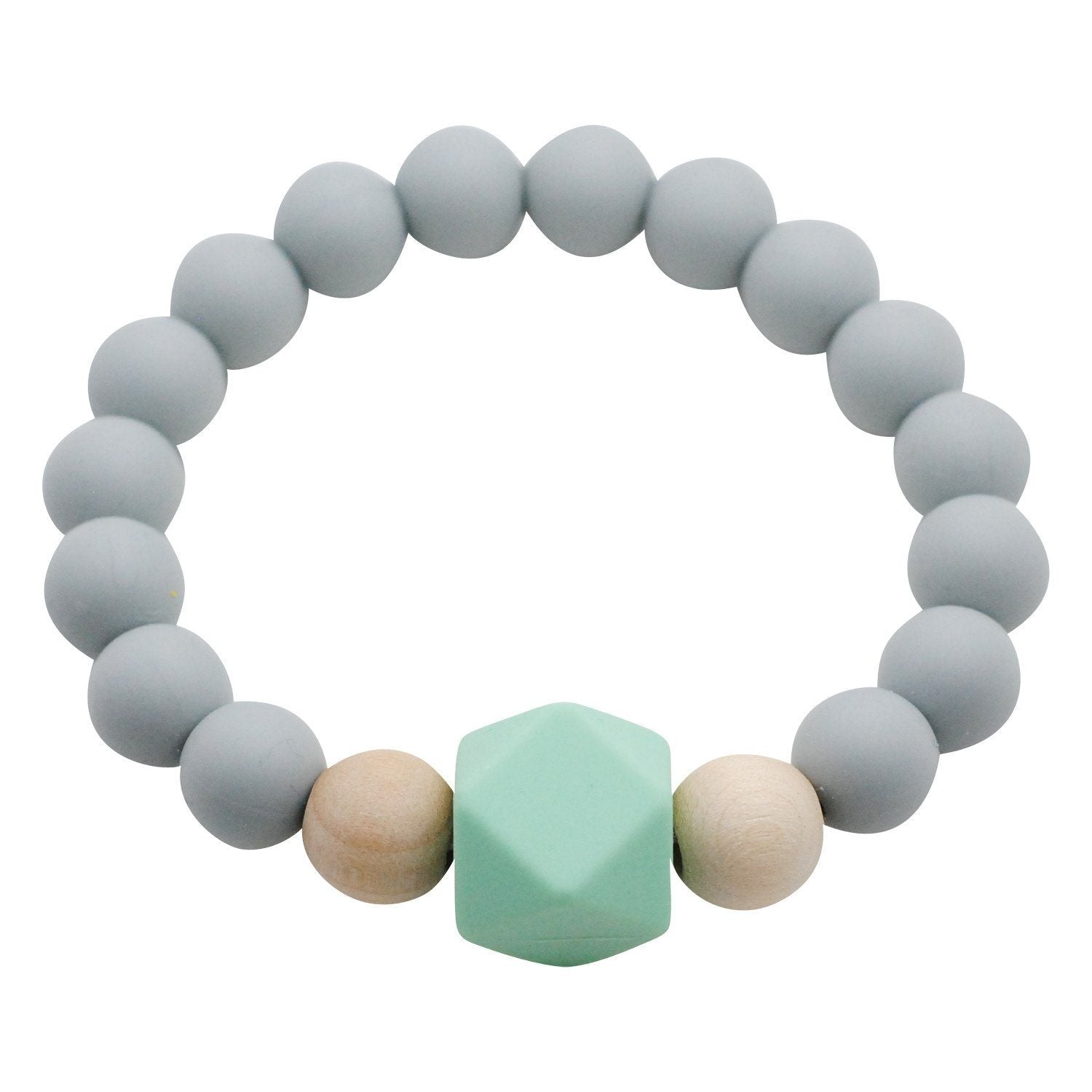 Adult Silicone Teething Bracelet - Gemstone in Feather Gray - Glitter & Spice