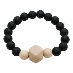 Adult Silicone Teething Bracelet - Gemstone in Midnight Black - Glitter & Spice