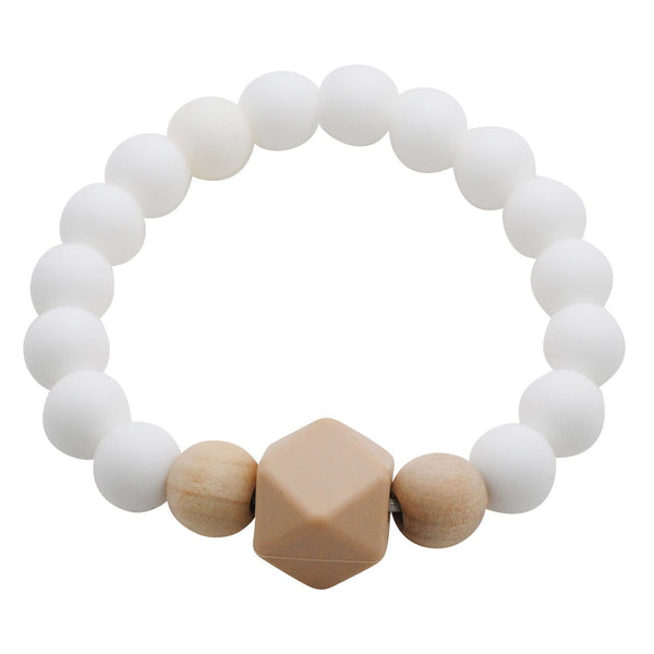 Adult Silicone Teething Bracelet - Gemstone in Porcelain White - Glitter & Spice