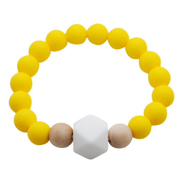 Adult Silicone Teething Bracelet - Gemstone in Sunshine Yellow - Glitter & Spice