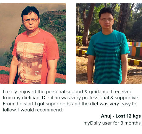 anuj lost 12 kg with mydaily weight loss diet plans