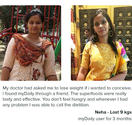 neha lost 9 kg in 3 months with mydaily weight loss diet plans