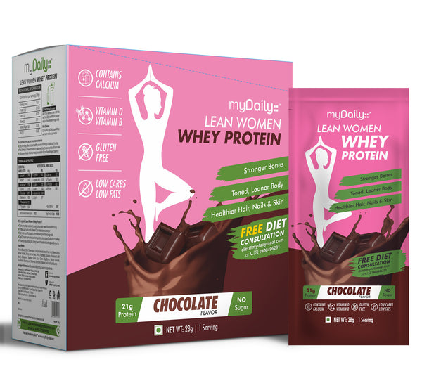 myDaily Lean Women Whey Protein, Chocolate Flavour- Pack of 15