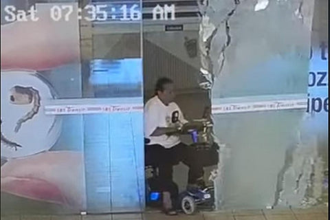 mobility scooter crashes through glass door at Toa Payoh