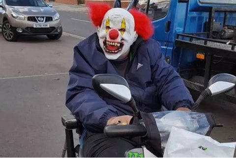 Scary Clown on Mobility Scooter