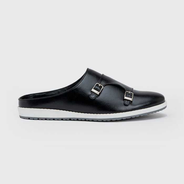 MONK STRAP MULES-BLACK