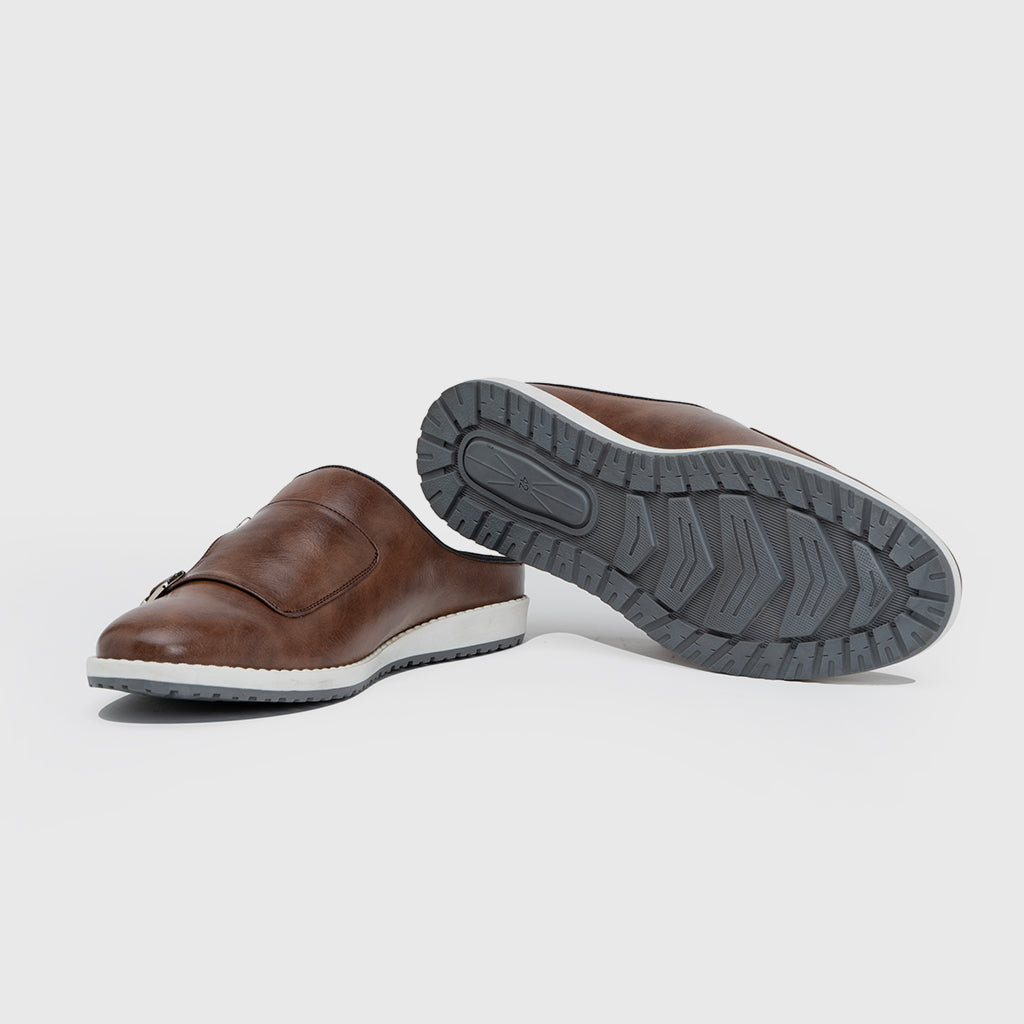 MONK STRAP MULES-BROWN