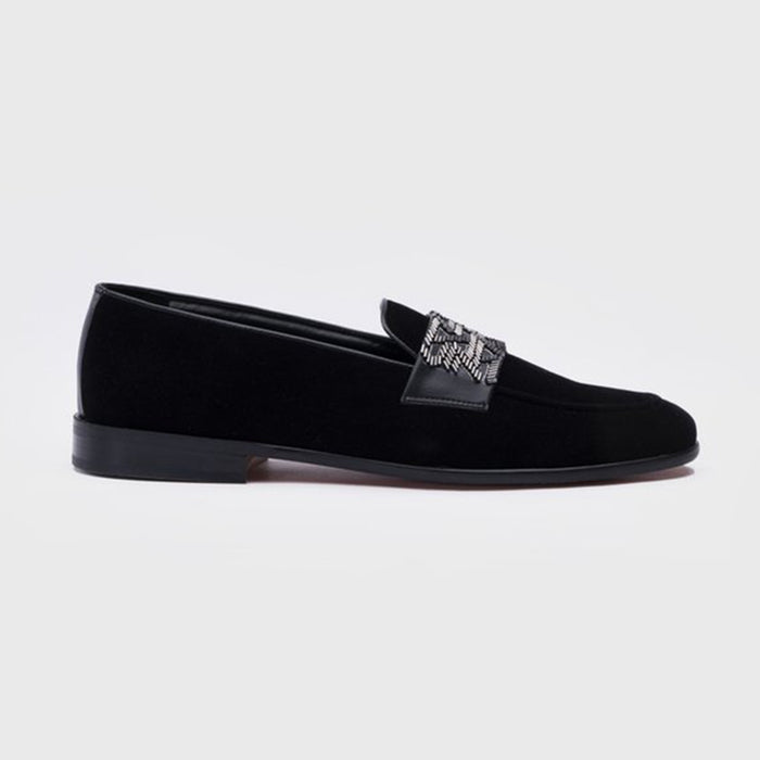EMBROIDERY SLIP-ONS- BLACK