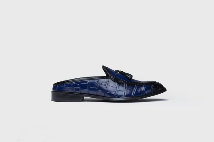 BURNISHED MULES- BLUE