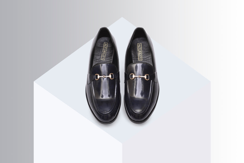 Two-tone slip-ons with buckle Blue