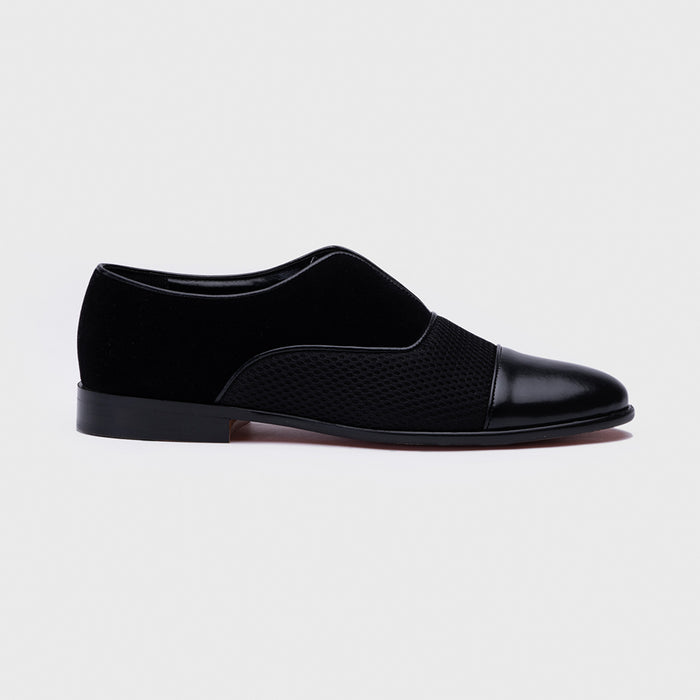 VELVET SLIP-ONS WITH MESH- BLACK