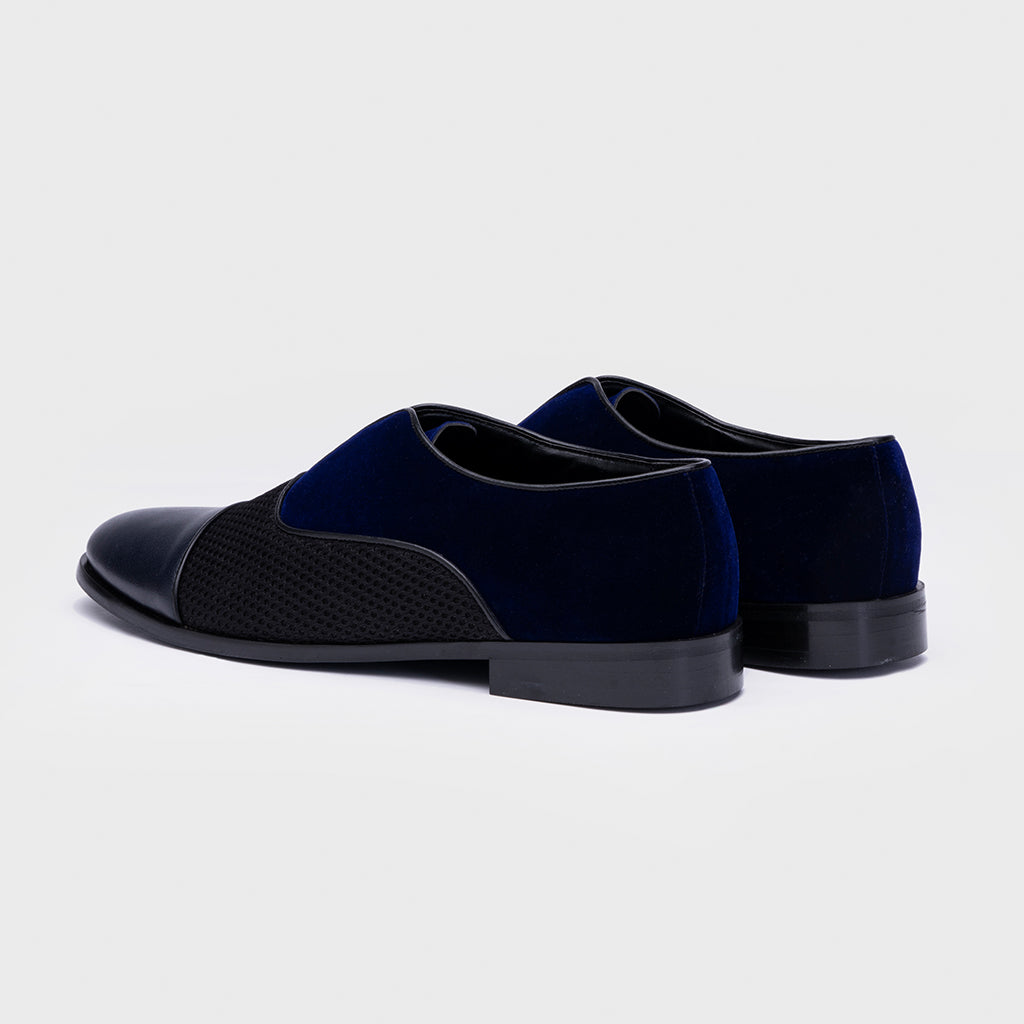 VELVET SLIP-ONS WITH MESH-BLUE