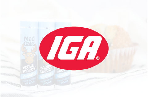Mad Gab's IGA Article Image with the IGA logo overlaid on Blueberry Moose Smooch