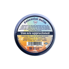 "Load image into Gallery viewer, Mad Gab's Essential Balm for Essential Humans to express gratitude during the COVID-19 Pandemic Back Graphic stating, ""You are appreciated"""