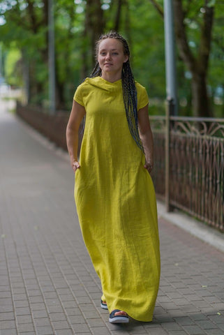 LEMON YELLOW LINEN DRESS